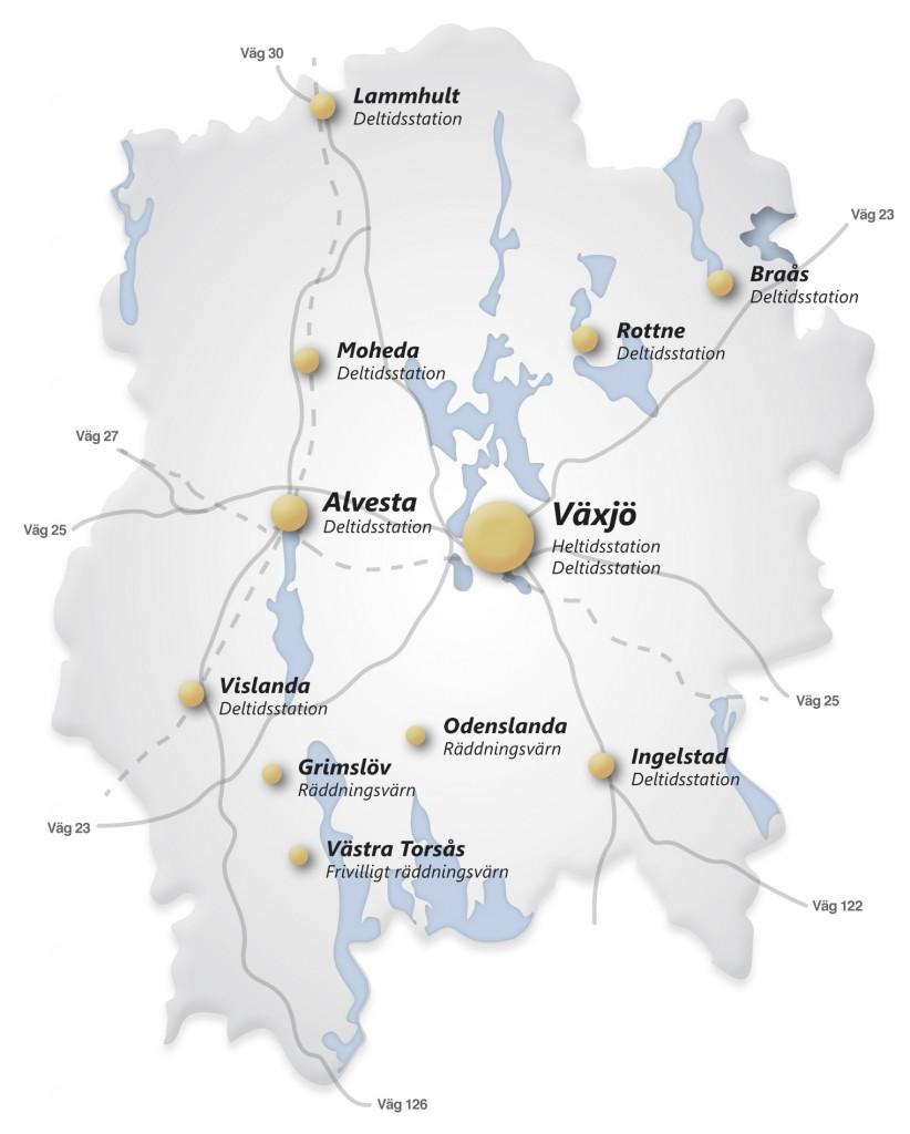 karta växjö kommun Om Värends Räddningstjänst | Bamses Brandskola karta växjö kommun